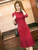 tanie Casualowe sukienki-Damskie Ponadczasowa klasyka Szczupła Spodnie - Solidne kolory Styl artystyczny Wino / Wyjściowe
