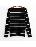 cheap Women's Sweaters-Women's Going out Long Sleeves Cotton Pullover - Striped Boat Neck