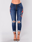 cheap Women's Pants-Women's Street chic Skinny Skinny / Jeans Pants - Embroidered Ripped