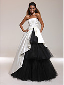 cheap Evening Dresses-Ball Gown Strapless / Straight Neckline Floor Length Satin / Tulle Open Back / Celebrity Style Formal Evening Dress with Side Draping by TS Couture®