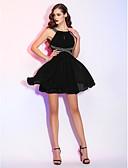 preiswerte Cocktailkleider-A-Linie / Leger & Aufgebauscht U-Ausschnitt Kurz / Mini Chiffon Kleines Schwarzes Kleid Cocktailparty Kleid mit Perlenstickerei / Drapiert / Spitze durch TS Couture®
