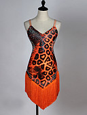 cheap Latin Dance Wear-Latin Dance Dresses Women's Performance Spandex Organza Pattern / Print Crystals/Rhinestones Sleeveless Dress