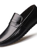 cheap Men's Shirts-Men's Moccasin Leather Fall / Winter Comfort Loafers & Slip-Ons Black / Brown
