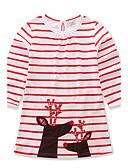 preiswerte Kleider für Mädchen-Mädchen Kleid Alltag Ausgehen Gestreift Tierfell-Druck Baumwolle Frühling Herbst Langarm Streifen Tierdruck Rote