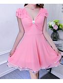 baratos Vestidos de Mulher-Mulheres Bainha Vestido Sólido Decote V Cintura Alta Mini