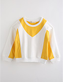 cheap Girls' Clothing-Girls' Color Block Long Sleeve Cotton Blouse