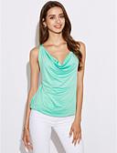 abordables Camisas y Camisetas para Mujer-Mujer Tank Tops, Escote en Pico Un Color Poliéster