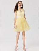 cheap Cocktail Dresses-A-Line / Princess Jewel Neck Short / Mini Lace / Tulle See Through Cocktail Party / Prom Dress with Appliques / Pleats by TS Couture®