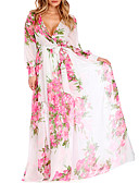 cheap Fashion Belts-Women's Plus Size Holiday / Beach Chiffon / Swing Dress - Floral Print High Rise Maxi V Neck / Floral Patterns