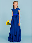 cheap Junior Bridesmaid Dresses-A-Line / Princess Crew Neck Floor Length Chiffon / Lace Junior Bridesmaid Dress with Bow(s) / Sash / Ribbon by LAN TING BRIDE® / Wedding Party