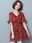 abordables Blusas para Mujer-Mujer Estampado - Algodón Blusa, Escote en Pico Floral
