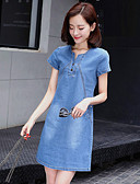 cheap Women's Dresses-Women's Plus Size Going out Street chic Sheath / Denim Dress - Solid Colored / Patchwork High Rise / Summer / Fall