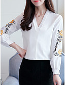 cheap Women's Blouses-Women's Work Cute Blouse - Solid Colored Embroidery, Embroidered V Neck