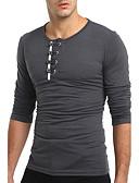 baratos Camisetas & Regatas Masculinas-Homens Camiseta Sólido Decote Redondo / Manga Longa