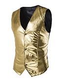 זול גברים-ג'קטים ומעילים-אחיד רזה Party וסט - בגדי ריקוד גברים כותנה