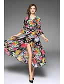baratos Vestidos Longos-Mulheres Sofisticado Boho Médio Vestido, Fenda Floral Decote V Manga 3/4 Primavera Verão