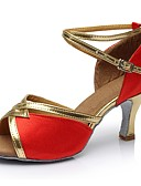 hesapli Print Dresses-Kadın's İpek Latin Dans Ayakkabıları Topuklular Yüksek Topuk Kişiselleştirilmiş Siyah / Kırmzı / Mavi / İç Mekan / EU39