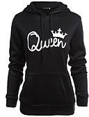 cheap Women's Hoodies & Sweatshirts-Women's Cotton Hoodie - Solid Colored / Letter, Print / Fall