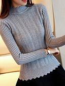 billige damesweaters-Dame Langærmet Tynd Pullover - Ensfarvet Rund hals