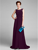 Χαμηλού Κόστους Φορέματα για τη Μητέρα της Νύφης-Ίσια Γραμμή Scoop Neck Ουρά Σιφόν Φόρεμα Μητέρας της Νύφης με Χάντρες Χιαστί με LAN TING BRIDE®
