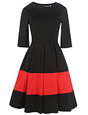 baratos Vestidos de Mulher-Mulheres Para Noite Vintage Algodão Bainha / balanço Vestido - Pregueado, Sólido / Listrado / Retalhos Cintura Alta Altura dos Joelhos