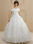 cheap Wedding Dresses-Ball Gown Off Shoulder Floor Length Lace / Tulle Made-To-Measure Wedding Dresses with Beading / Appliques by LAN TING BRIDE®