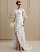 cheap Wedding Dresses-Sheath / Column V Neck Asymmetrical Tulle / Floral Lace Made-To-Measure Wedding Dresses with Beading / Appliques / Sashes / Ribbons by