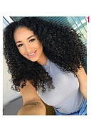 cheap Women's Dresses-Human Hair Lace Front Wig Brazilian Hair Kinky Curly Wig 130% Natural Hairline Women's Short / Medium Length / Long Human Hair Lace Wig