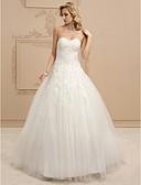 olcso Menyasszonyi ruhák-Báli ruha Szív-alakú Földig érő Tüll Made-to-measure esküvői ruhák val vel Gyöngydíszítés / Rátétek / Ráncolt által LAN TING BRIDE®