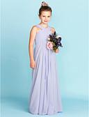 Χαμηλού Κόστους Βραδινά Φορέματα-Ίσια Γραμμή Λαιμόκοψη V Μακρύ Σιφόν Φόρεμα Νεαρών Παρανύμφων με Χιαστί / Πλισέ με LAN TING BRIDE® / Γαμήλιο Πάρτι / Ανοικτή Πλάτη