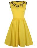 tanie Sukienki-Damskie Impreza / Wyjściowe Vintage Bawełna Pochwa / Swing Sukienka - Solidne kolory, Z wycięciem / Siateczka Do kolan