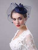 رخيصةأون لفات الزفاف-ألياف الكتان قطع زينة الرأس / غطاء شفاف للوجه مع 1 زفاف / حفل / مساء خوذة