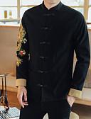 זול גברים-ג'קטים ומעילים-כותנה בגדי ריקוד גברים שחור XXL XXXL 4XL ג'קט סגנון רחוב דפוס צווארון חולצה / שרוול ארוך / סתיו