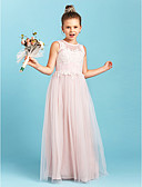 cheap Junior Bridesmaid Dresses-A-Line / Princess Jewel Neck Floor Length Tulle Junior Bridesmaid Dress with Appliques / Pleats by LAN TING BRIDE® / Wedding Party / See Through