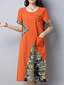 cheap Women's Dresses-Women's Going out Chinoiserie Cotton Loose Dress - Patchwork