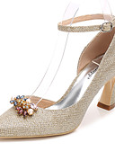 cheap Mother of the Bride Dresses-Women's Shoes Glitter Spring / Fall Basic Pump / Ankle Strap Wedding Shoes Chunky Heel Pointed Toe Rhinestone / Crystal Gold / Silver