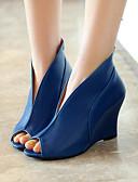 cheap Women's Leather & Faux Leather Jackets-Women's Wedge Heels PU(Polyurethane) Summer Gladiator Sandals Wedge Heel Peep Toe White / Black / Blue