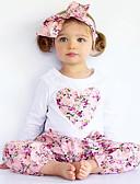 billige Sett med pikeklær-Baby Jente Blomster / Finklær Blomstret / Broderi Trykt mønster Langermet Normal Normal Bomull / Polyester Tøysett Rosa