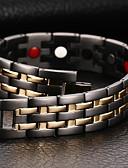 זול שעוני יוקרה-בגדי ריקוד גברים שרשרת וצמידים צמידים צמיד מגנטי - פלדת טיטניום טבע, אופנתי צמידים תכשיטים שחור עבור מתנה יומי