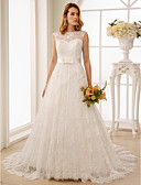 cheap Wedding Dresses-A-Line / Princess Illusion Neck Court Train Lace Custom Wedding Dresses with Bow(s) / Sashes / Ribbons by LAN TING BRIDE®