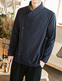 baratos Jaquetas & Casacos para Homens-Homens Tamanhos Grandes Camisa Social Vintage / Casual / Boho Sólido Algodão Delgado / Temática Asiática / Manga Longa / Temática Asiática