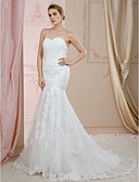 cheap Wedding Dresses-Mermaid / Trumpet Sweetheart Neckline Court Train Lace / Tulle Made-To-Measure Wedding Dresses with Beading / Appliques / Buttons by LAN TING BRIDE® / Open Back