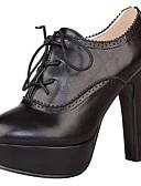 ieftine Rochii de Damă-Pentru femei Pantofi PU Primăvară / Vară Balerini Basic / Cizme la Modă Cizme Toc Îndesat / Platformă Vârf ascuțit Dantelă Negru / Maro /