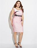 preiswerte Damen Kleider-Damen Übergrössen Arbeit Niedlich Bodycon Kleid - Spitze, Patchwork Knielang Quadratischer Ausschnitt