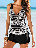 cheap Women's Swimwear & Bikinis-Women's Strap Black Triangle Boy Leg Tankini Swimwear - Tribal Print / Basic L XL XXL