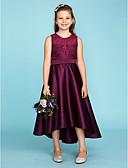 זול שמלות שושבינה-גזרת A / נסיכה עם תכשיטים א-סימטרי תחרה / סאטן שמלה לשושבינות הצעירות  עם סרט על ידי LAN TING BRIDE® / מסיבת החתונה / See Through