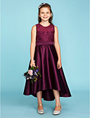 cheap Junior Bridesmaid Dresses-A-Line / Princess Jewel Neck Asymmetrical Lace / Satin Junior Bridesmaid Dress with Sash / Ribbon by LAN TING BRIDE® / Wedding Party / See Through
