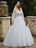 cheap Wedding Dresses-Ball Gown Spaghetti Strap Floor Length Tulle / Floral Lace Made-To-Measure Wedding Dresses with Beading / Appliques by LAN TING BRIDE®