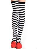 cheap Leggings-Women's Medium Stockings, Cotton Striped 1set Blue Black Red Blushing Pink Royal Blue