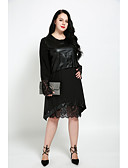 cheap Women's Dresses-Cute Ann Women's Plus Size Cute Street chic Shift Dress - Solid Colored, Lace